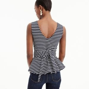 Tie striped black and white peplum top